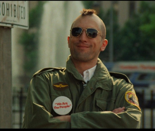 Travis Bickle with button 'We are the people'