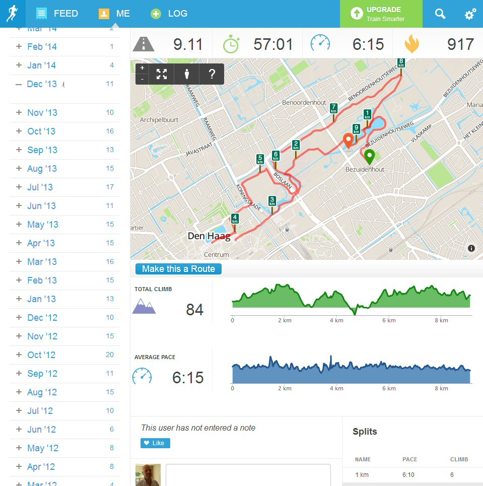 Screen shot van Runkeeper interface