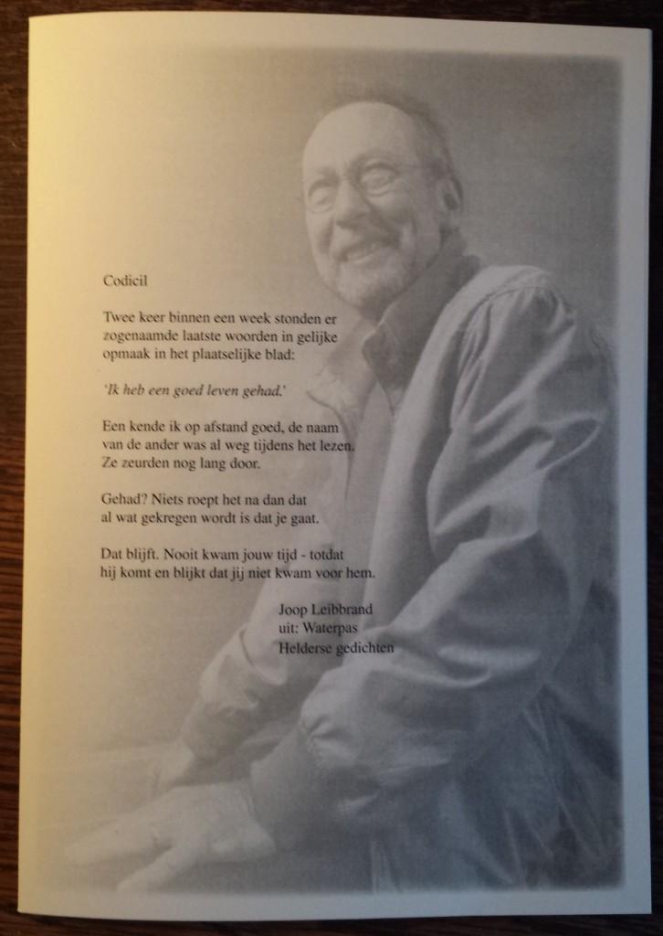 Rouwkaart met gedicht 'Codicil'