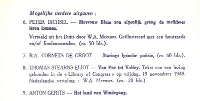 Vermelding van nooit uitgegeven titel in de catalogus van de Mouette Press. Zie de correspondentie met Wim Meeuws.