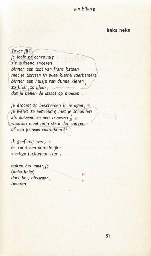 Tekst van Elburgs gedicht 'heks heks'