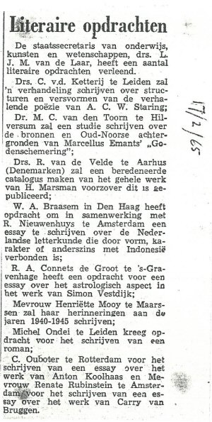Krantenbericht met overzicht literaire opdrachten, waaronder die aan Cornets de Groot