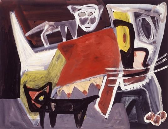 Jan Elburg, 'Moerpoes', 1952. Gouache, 50 x 65 cm. [Afbeelding niet in oorspronkelijke publicatie].