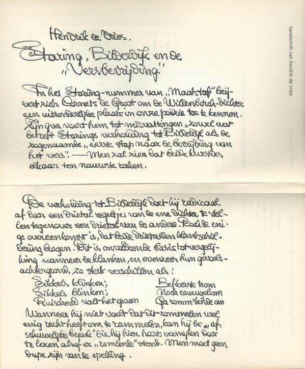 In 'Maatstaf' afgedrukt gedeelte van handschrift van Hendrik de Vries' bijdrage.