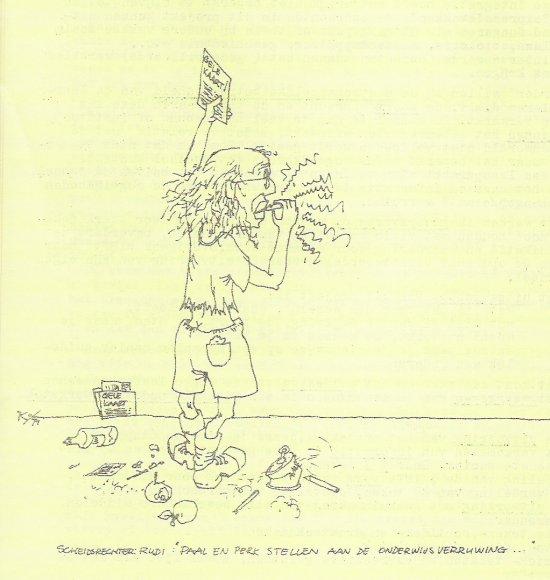 Tekening in de 'Gele vellen' van Cornets de Groot als scheidsrechter