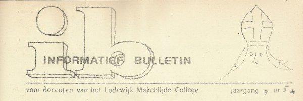 Tekening van sinterklaas in het logo van het I.B. door CN
