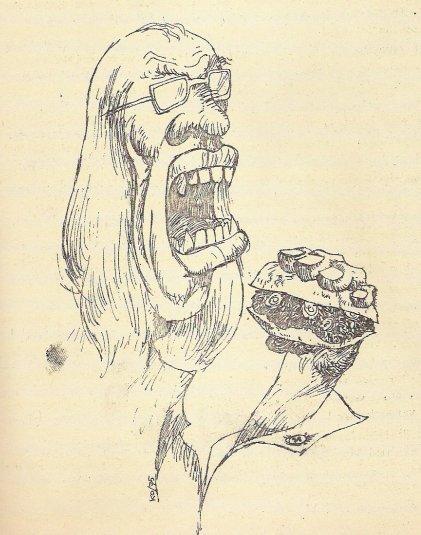 Tekening van Cornets de Groot met broodje tartaar