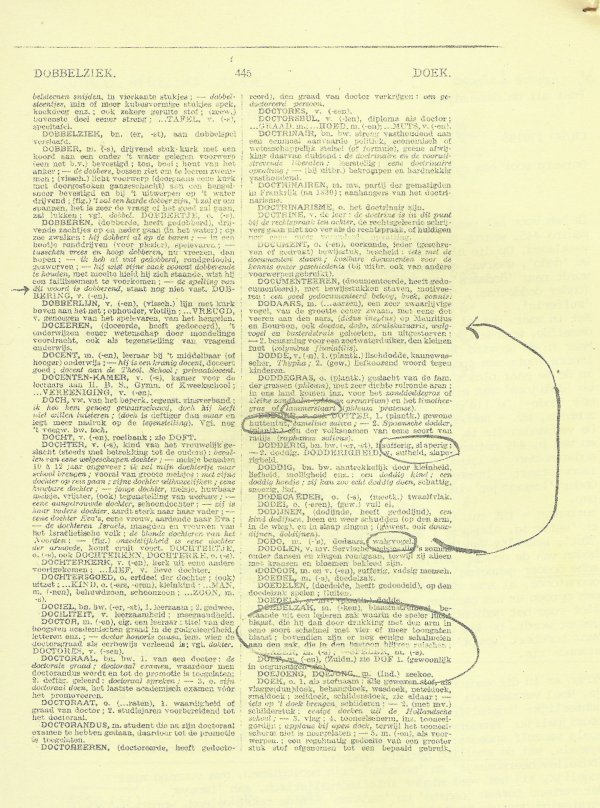 Pagina 445 van de 6e druk van Van Dale.