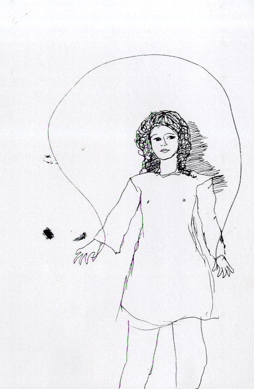 Pentekening van touwtjespringend meisje