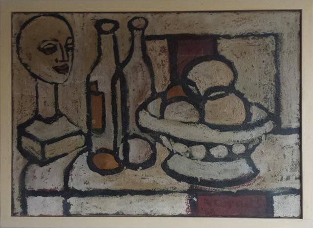 Stilleven met buste, flessen en fruit