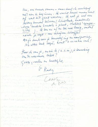 Achterkant brief aan Hazeu