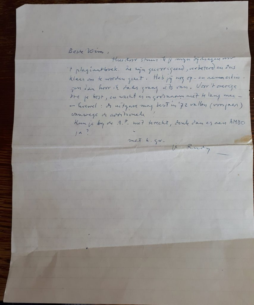 Handschrift van brief aan Wim Hazeu