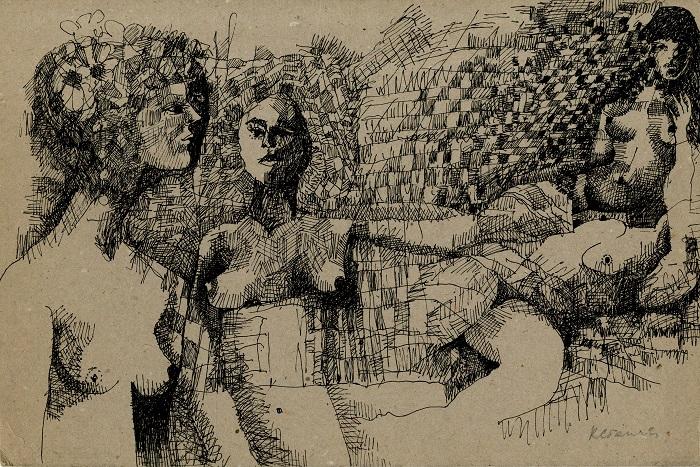 Pentekening van naakte vrouwen